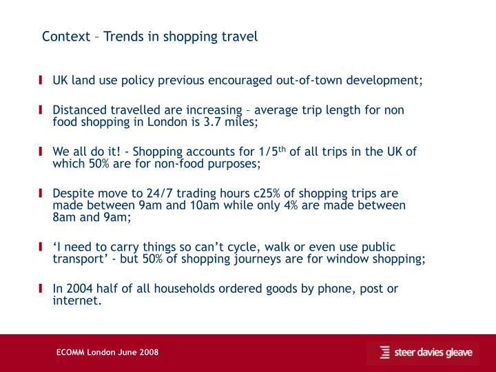 Context – Trends in shopping travel