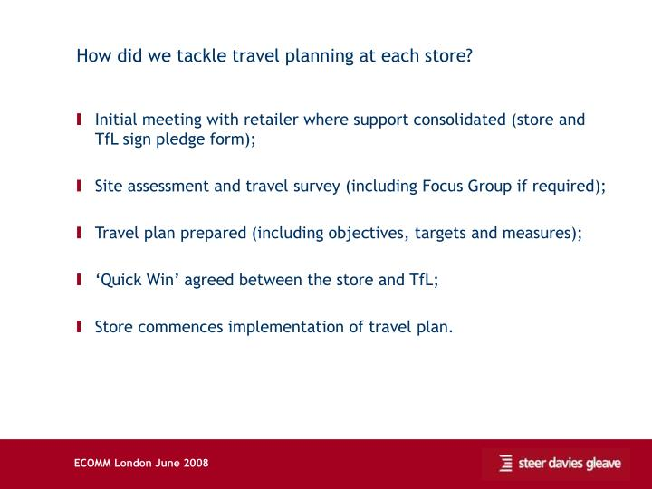 How did we tackle travel planning at each store?