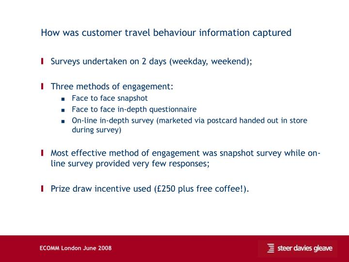 How was customer travel behaviour information captured