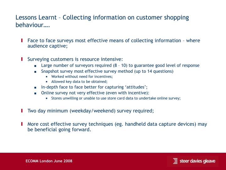 Lessons Learnt – Collecting information on customer shopping behaviour….