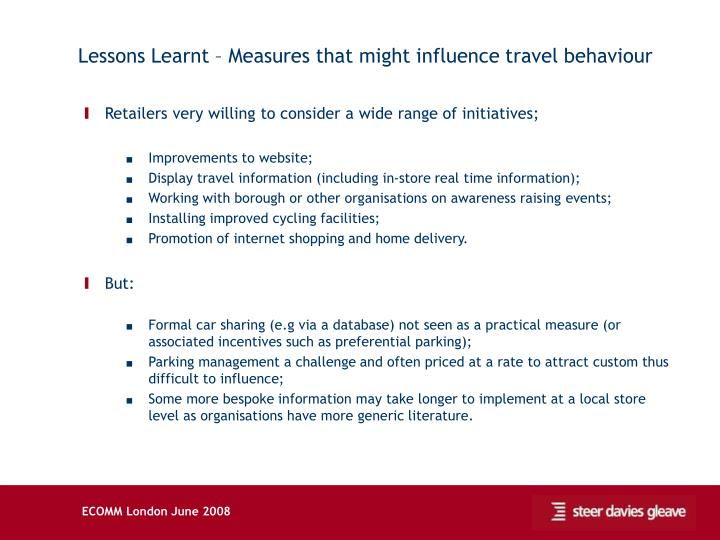 Lessons Learnt – Measures that might influence travel behaviour