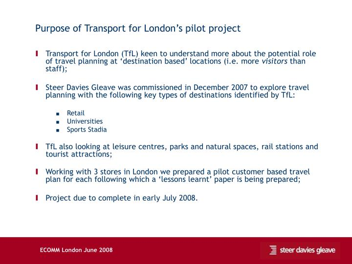 Purpose of Transport for London's pilot project