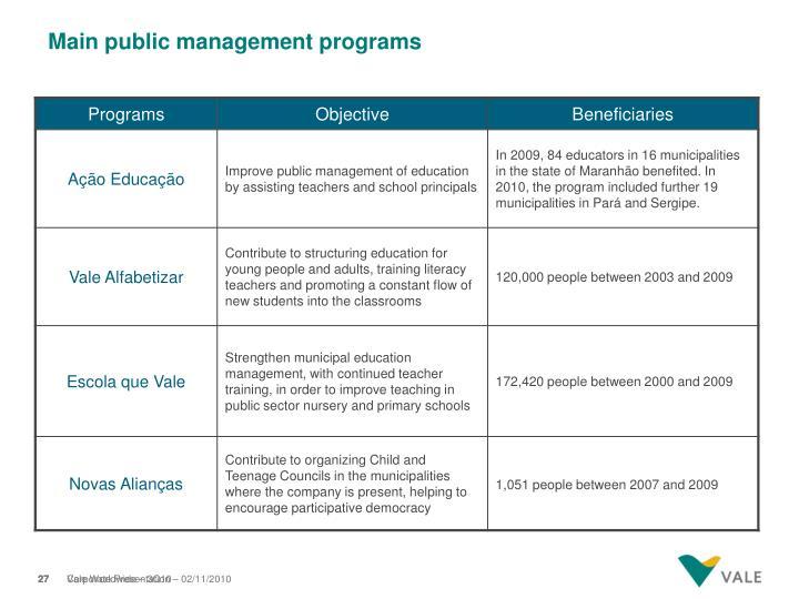 Main public management programs