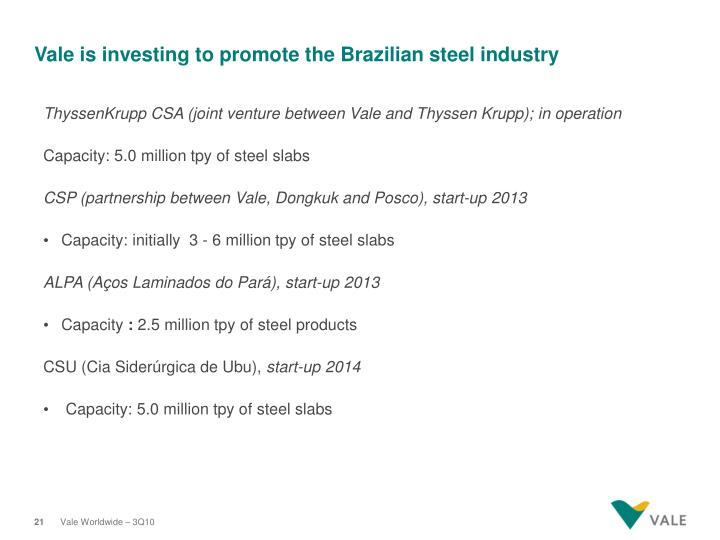Vale is investing to promote the Brazilian steel industry
