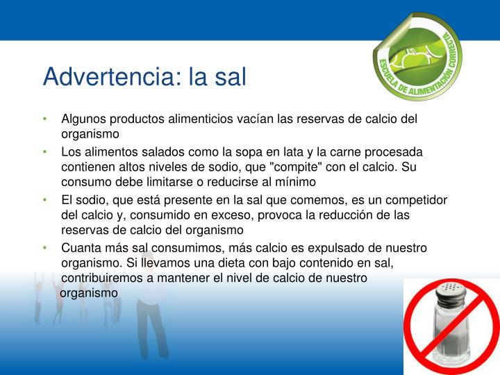 Advertencia: la sal