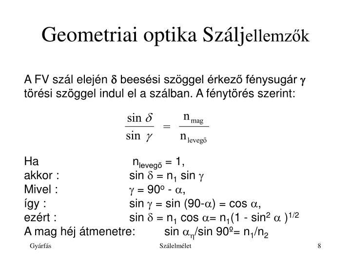 Geometriai optika Szálj