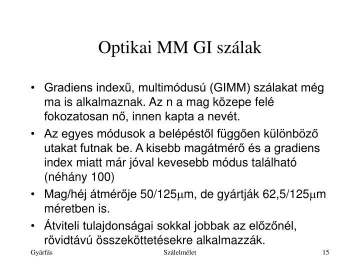 Optikai MM GI szálak