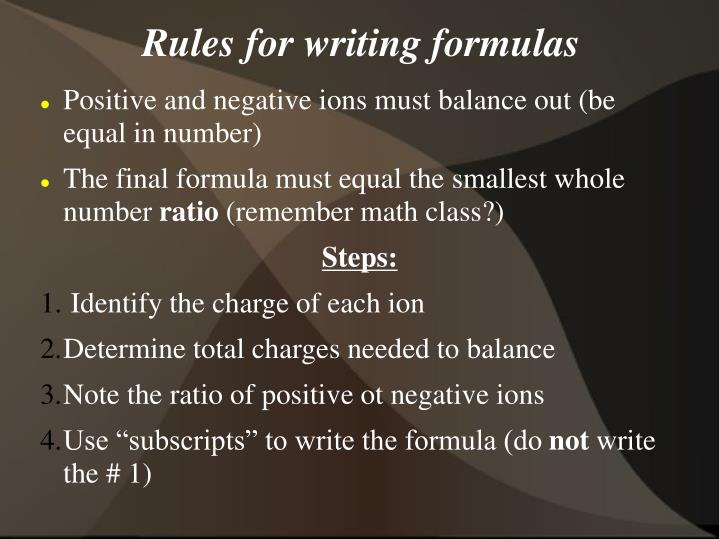 Rules for writing formulas