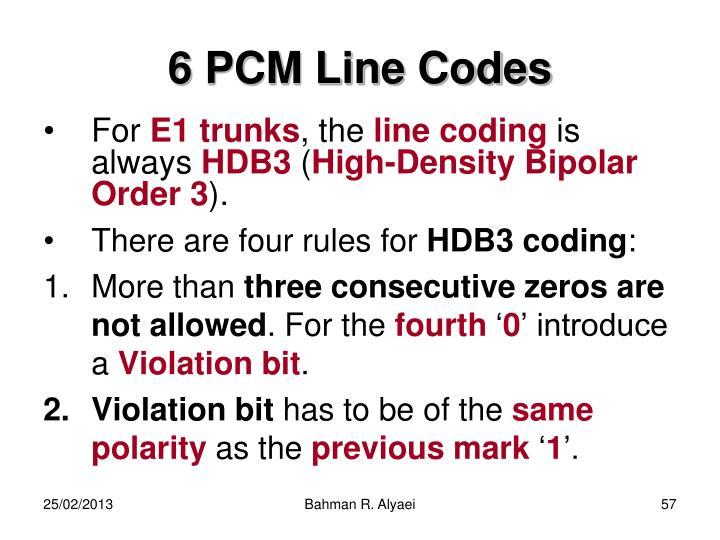 6 PCM Line Codes