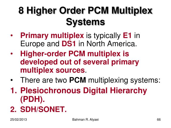 8 Higher Order PCM Multiplex Systems