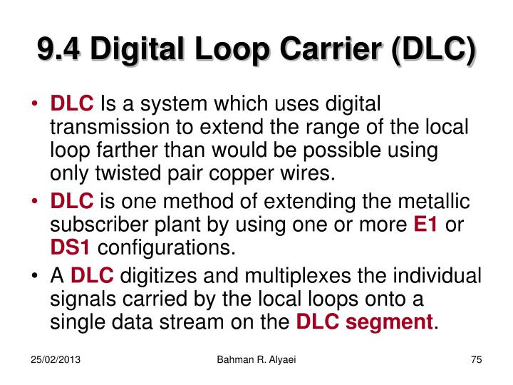 9.4 Digital Loop Carrier (DLC)