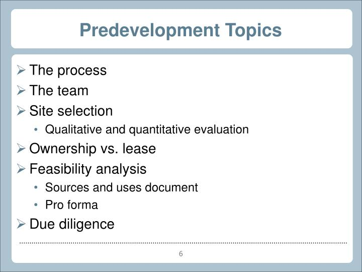 Predevelopment Topics
