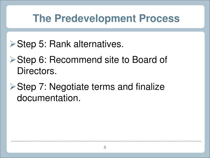 The Predevelopment Process