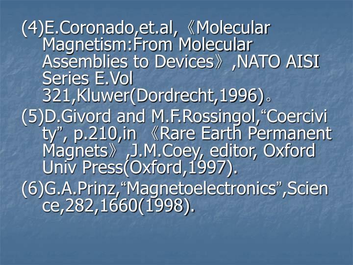 (4)E.Coronado,et.al,Molecular Magnetism:From Molecular Assemblies to Devices,NATO AISI Series E.Vol 321,Kluwer(Dordrecht,1996)