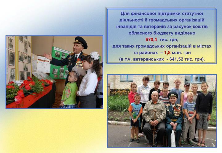 Для фінансової підтримки статутної діяльності 8 громадських організацій інвалідів та ветеранів за рахунок коштів обласного бюджету виділено