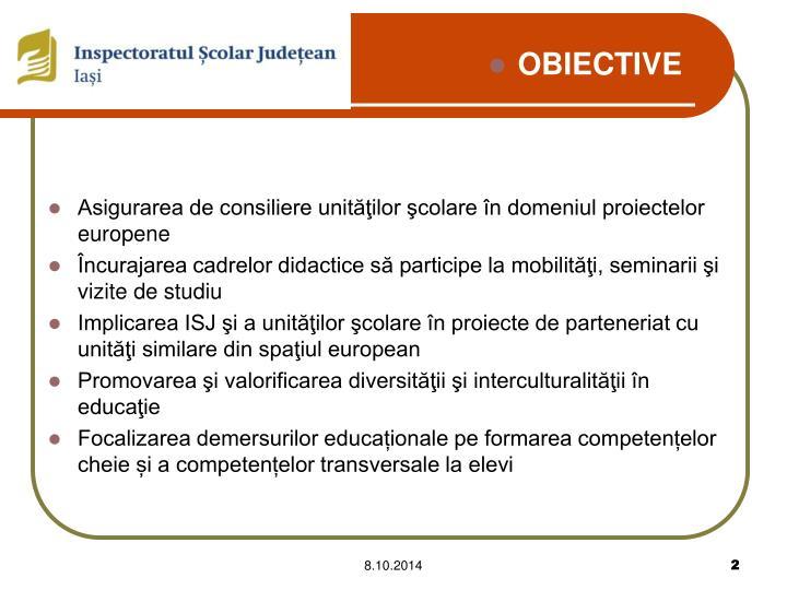 Asigurarea de consiliere unităţilor şcolare în domeniul proiectelor europene