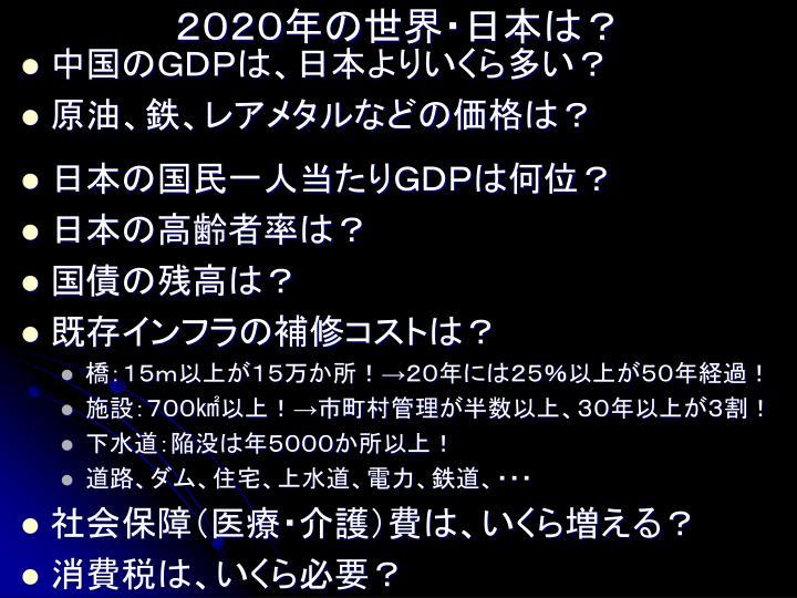 2020年の世界・日本は?