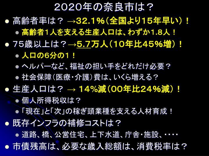 2020年の奈良市は?