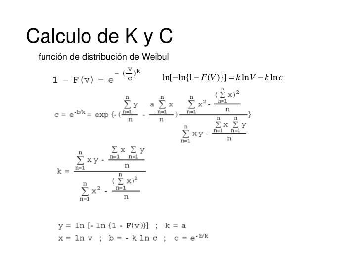 Calculo de K y C