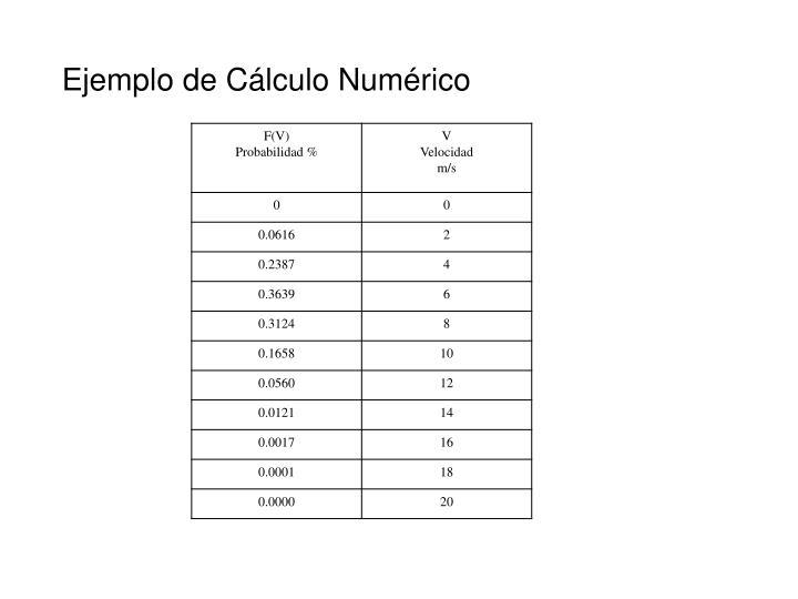 Ejemplo de Cálculo Numérico