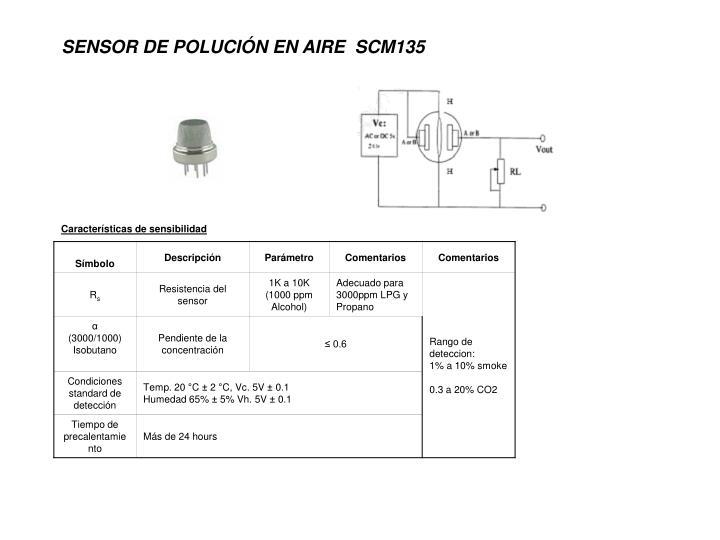 SENSOR DE POLUCIÓN EN AIRE  SCM135