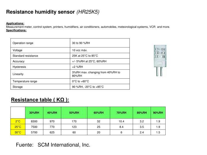 Resistance humidity sensor