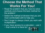 choose the method that works for you