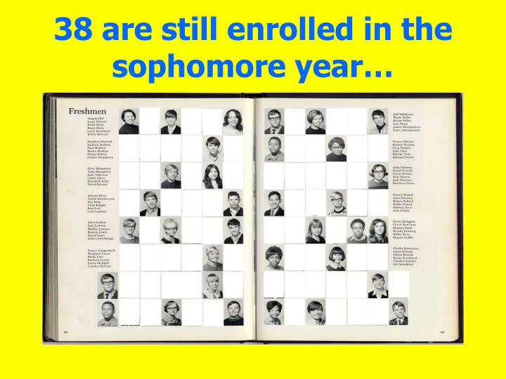 38 are still enrolled in the sophomore year…