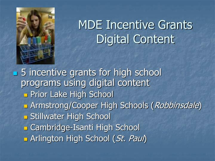 MDE Incentive Grants Digital Content