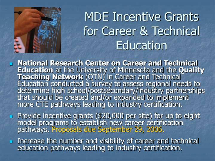 MDE Incentive Grants for Career & Technical Education