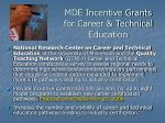 mde incentive grants for career technical education