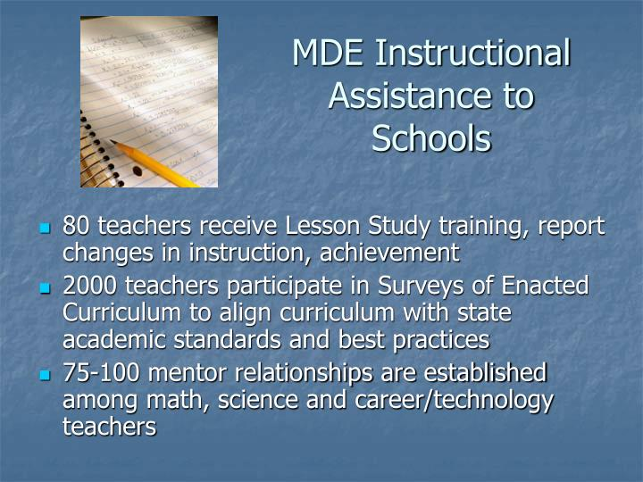 MDE Instructional Assistance to Schools