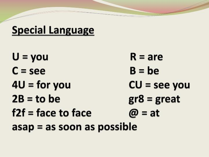 Special Language