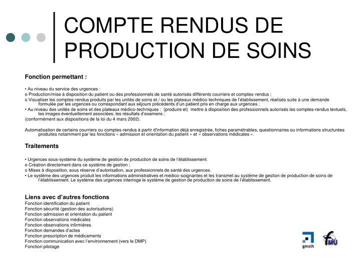 COMPTE RENDUS DE PRODUCTION DE SOINS