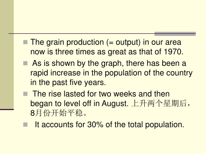 The grain production (= output) in our area now is three times as great as that of 1970.