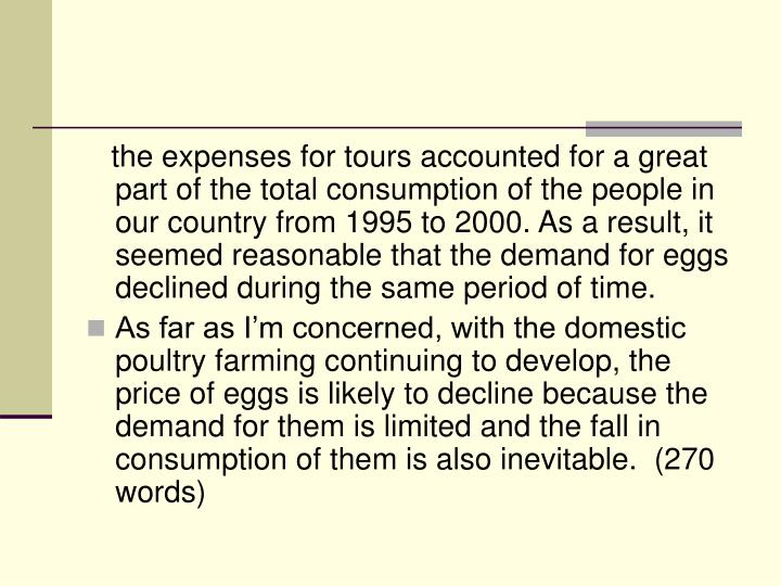 the expenses for tours accounted for a great part of the total consumption of the people in our country from 1995 to 2000. As a result, it seemed reasonable that the demand for eggs declined during the same period of time.