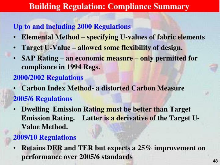 Building Regulation: Compliance Summary