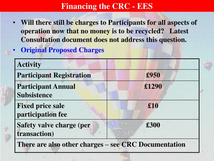 Financing the CRC - EES