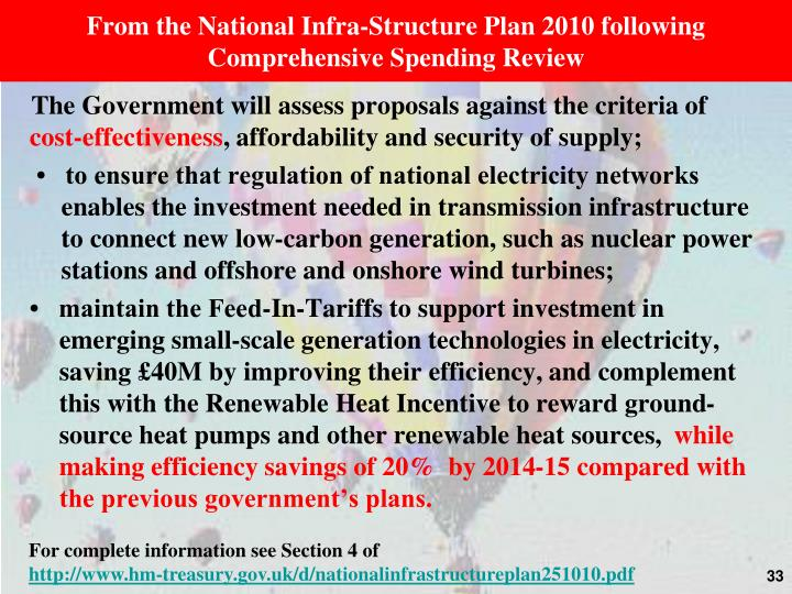 From the National Infra-Structure Plan 2010 following Comprehensive Spending Review