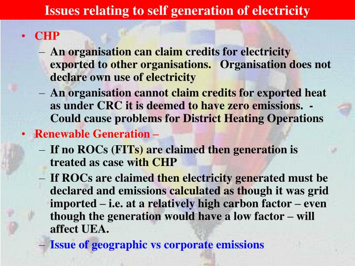 Issues relating to self generation of electricity