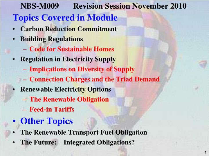 Nbs m009 revision session november 2010