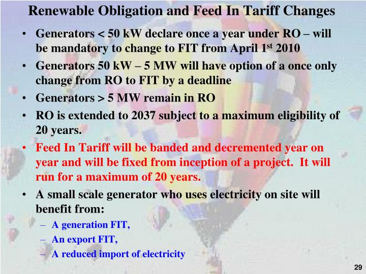 Renewable Obligation and Feed In Tariff Changes