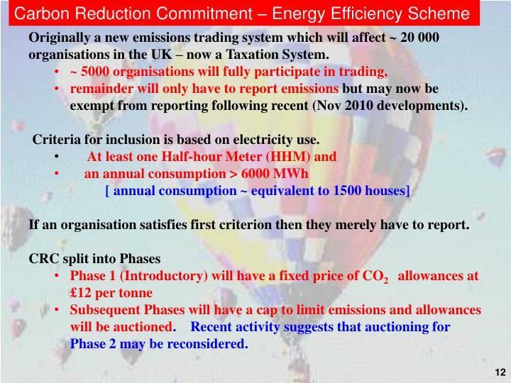 Carbon Reduction Commitment – Energy Efficiency Scheme