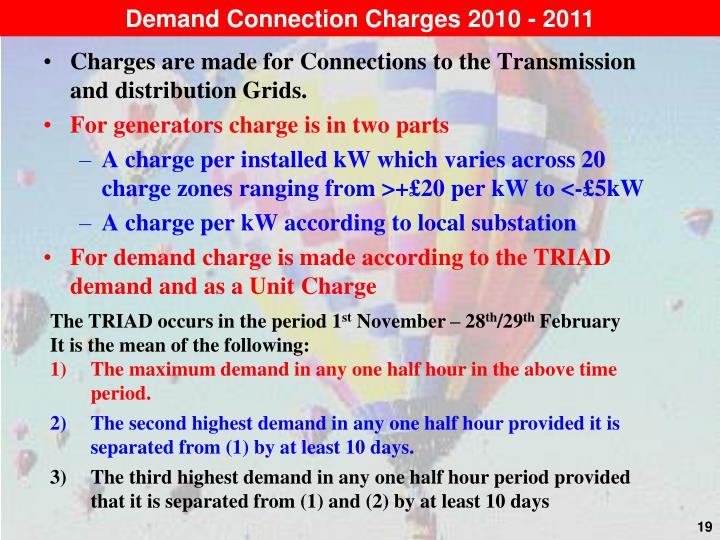 Demand Connection Charges 2010 - 2011
