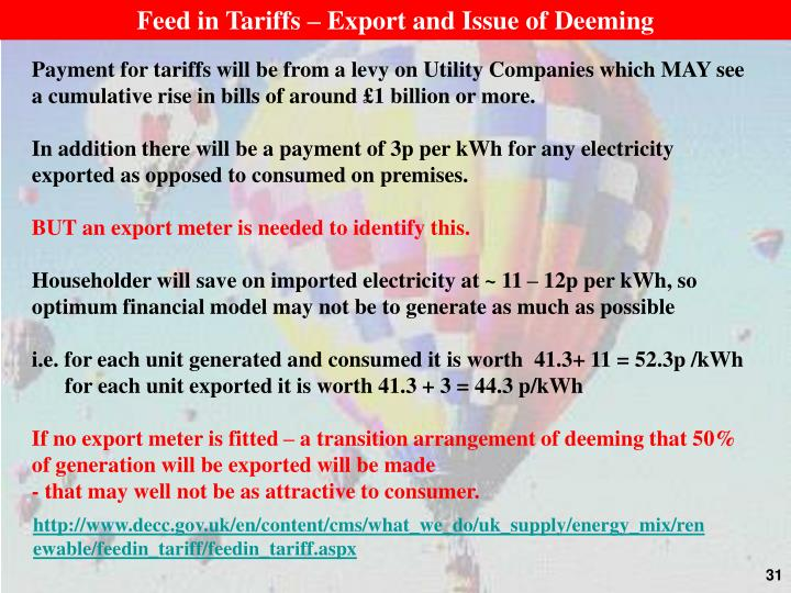 Feed in Tariffs – Export and Issue of Deeming