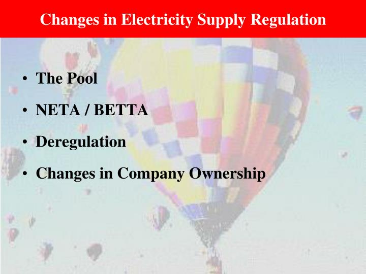 Changes in Electricity Supply Regulation
