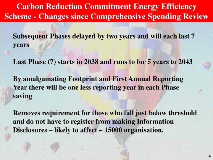 Carbon Reduction Commitment Energy Efficiency Scheme - Changes since Comprehensive Spending Review