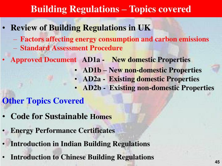 Building Regulations – Topics covered