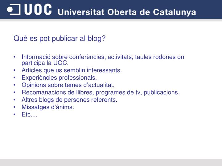 Què es pot publicar al blog?