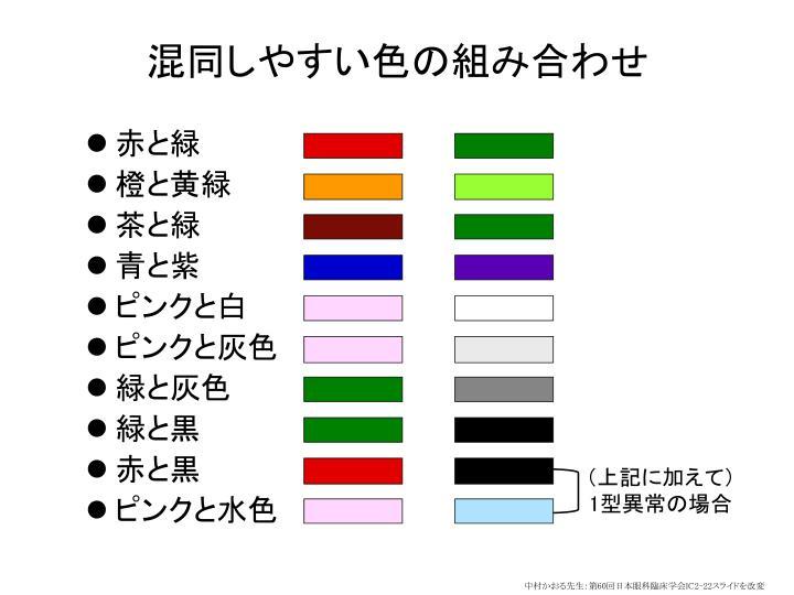 混同しやすい色の組み合わせ